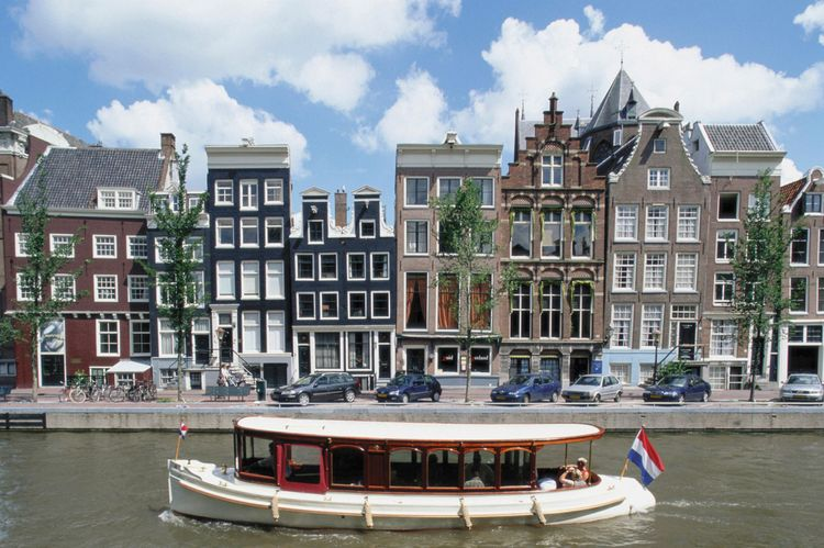 View from canal, Amsterdam, Netherlands