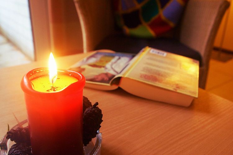 Candle, hygge, cosiness, book