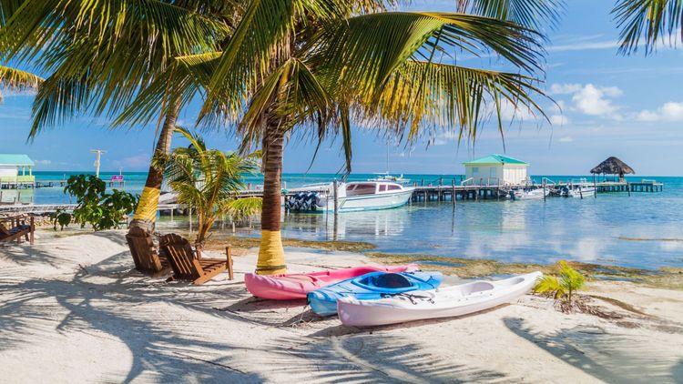 Palms and beach at Caye Caulker island, Belize © Matyas Rehak/Shutterstock