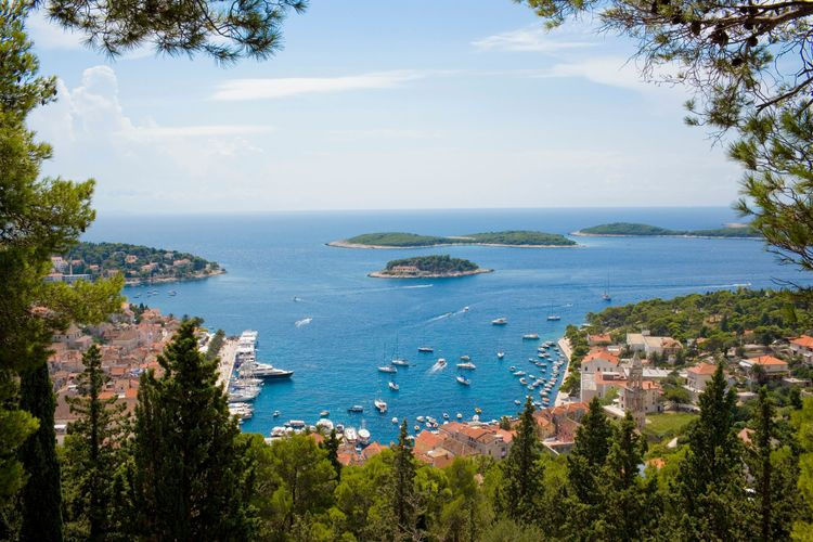 Croatia, Dalmatia, Hvar, Hvar Town harbour and outlying islets as seen from the citadel