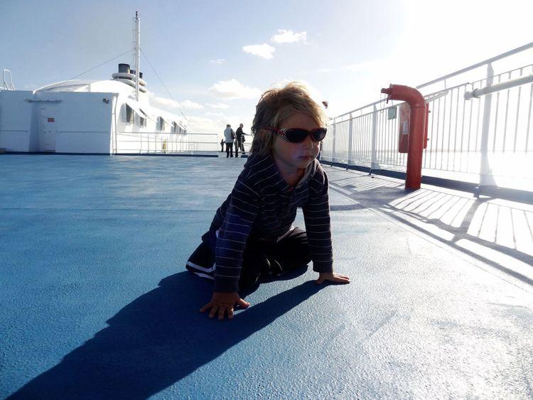 Hayley Spurway's children on ferry