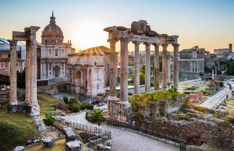 The Forum Romanum ruins in Rome, Italy