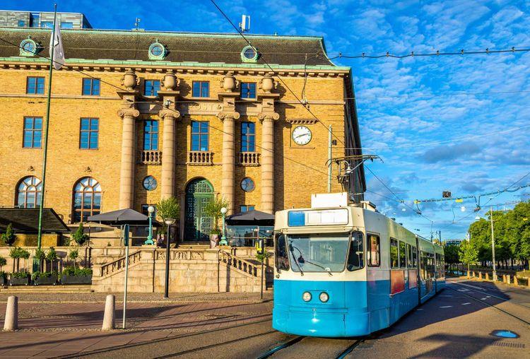 Gothenburg street scene with tram