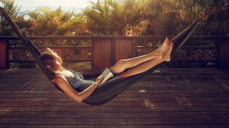 Relaxing on a hammock