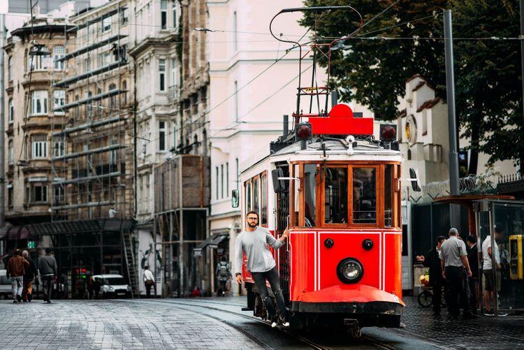 Vintage tram on the Taksim Istiklal street in Istanbul