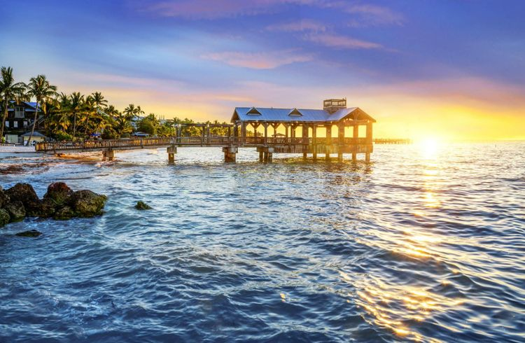 Beach view with a vivid sunset at Key West, Florida USA