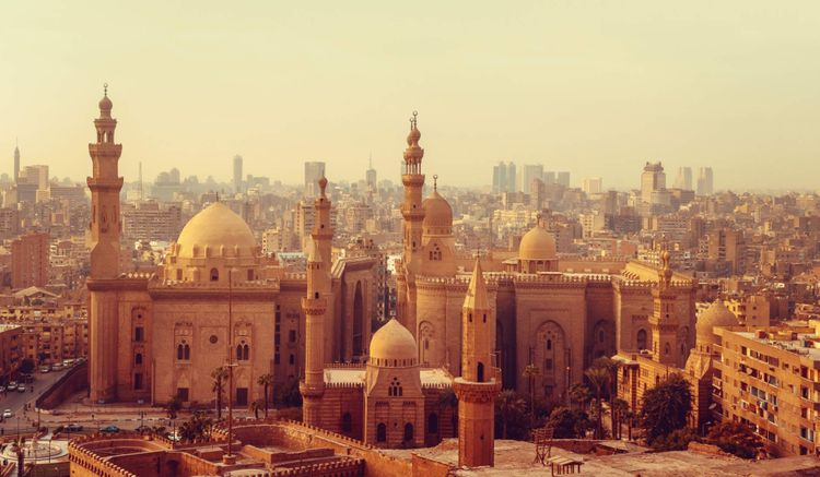 Cairo old town with mosque and minarets