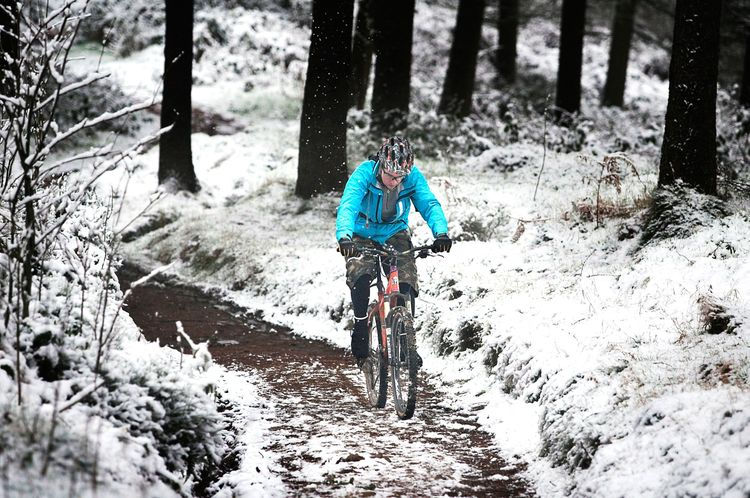Mountain Biking in Snow Llandegla Forest, Denbighshire, North East Wales