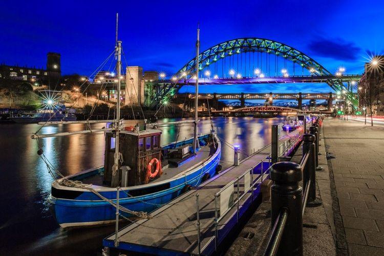 Twilight at Newcastle quayside, England