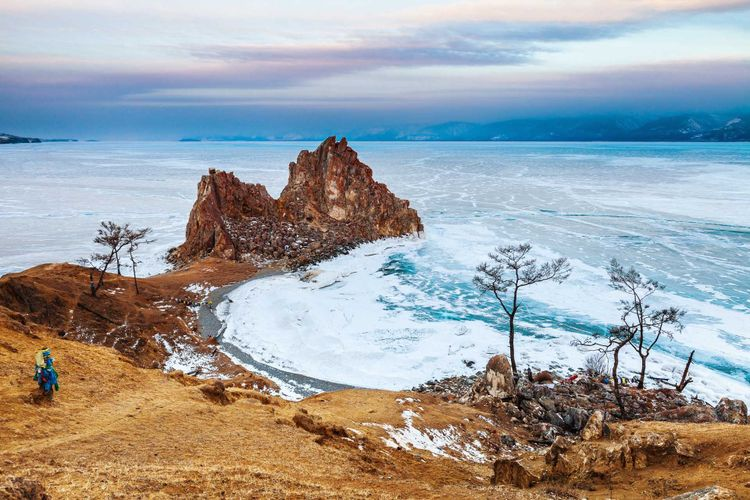 Sacred rocks Shamanka on the Olkhon island. Baikal, Russia