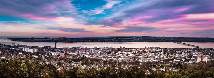 Panorama view at sunset of the city Dundee in Scotland