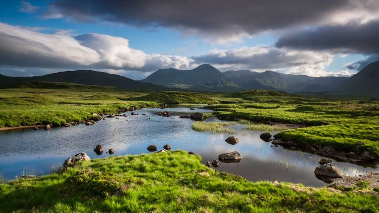 Sunny and cloudy at the same time at Rannoch Moor, Scotland