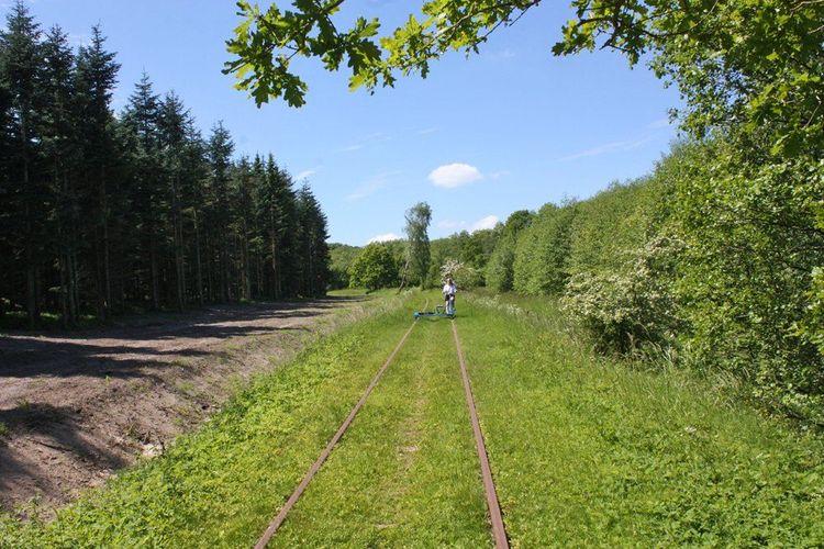 Woman riding bike on disused railway, Lund