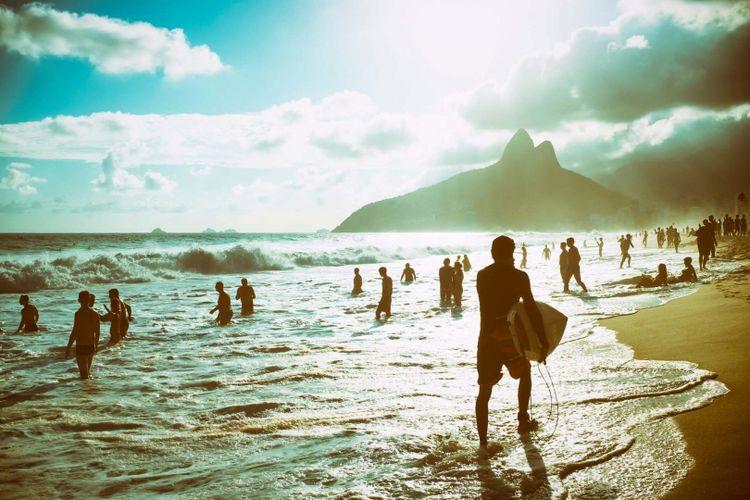 Ipanema Beach surfing in Rio de Janeiro, Brazil