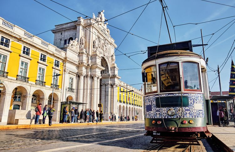 The Rua Augusta Arch and old tram in Lisbon, Portugal