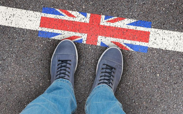 Migration to Great Britain, UK - standing at the border