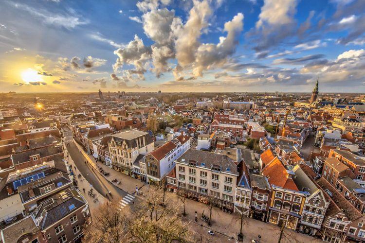Groningen city at sunset, the Netherlands