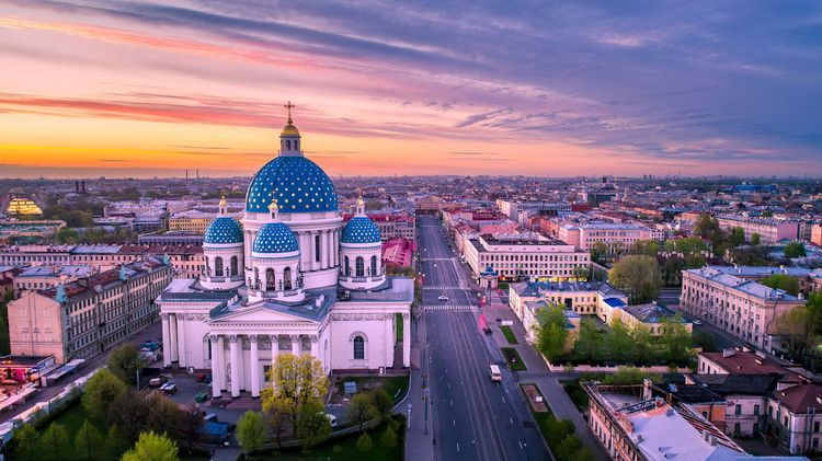 St Petersburg at sunset, Russia
