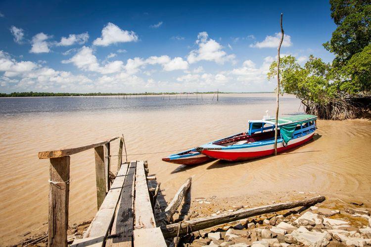 Colorful traditional boats on the Suriname river, Suriname © Marcel Bakker/Shutterstock