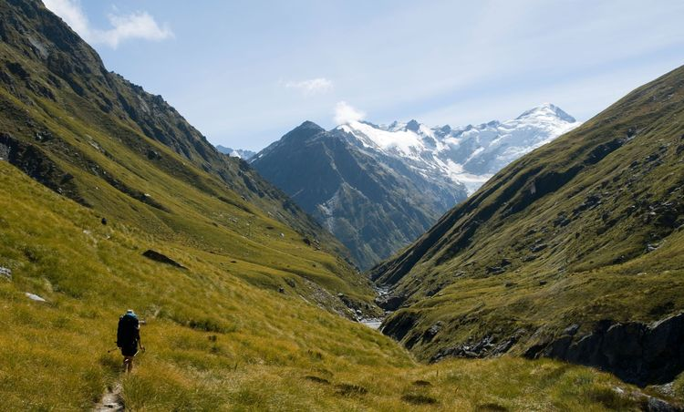 The Barrier Range from Snowy Creek, below the Rees Saddle, Rees Dart track, Mount Aspiring National Park, New Zealand