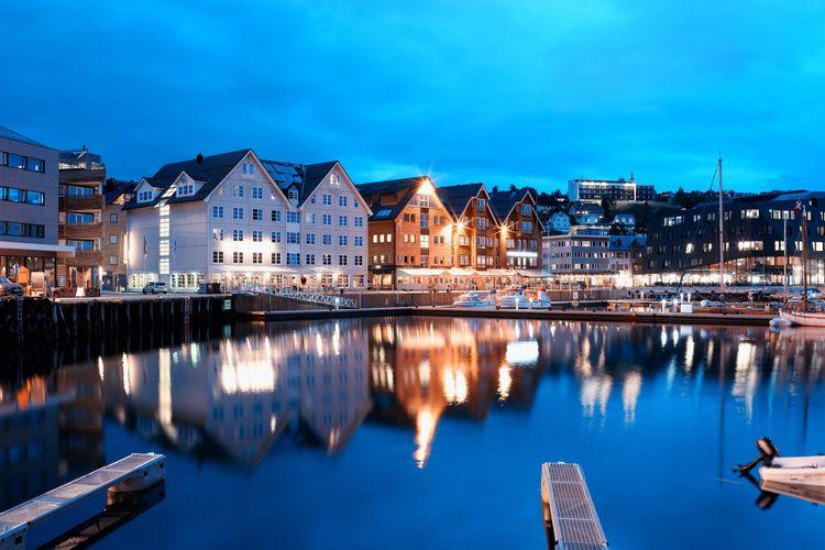 Tromso night city background