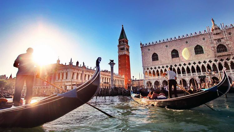 Piazza San Marco in Venice with Gondola