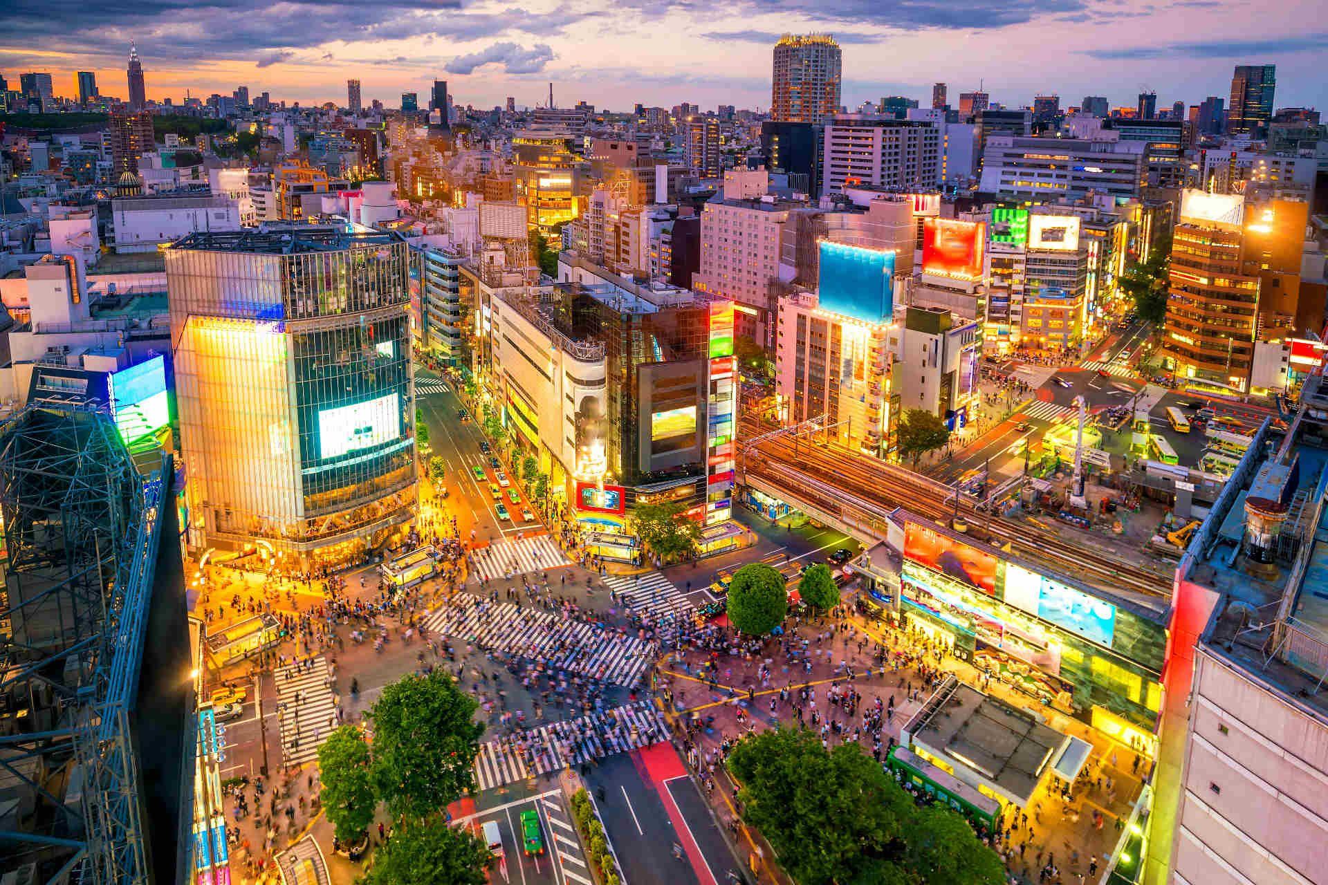 Shibuya băng qua Tokyo Nhật Bản vào ban đêm